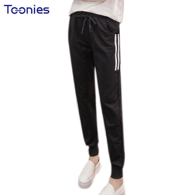 sweatpants women pencil pants side half double striped unique
