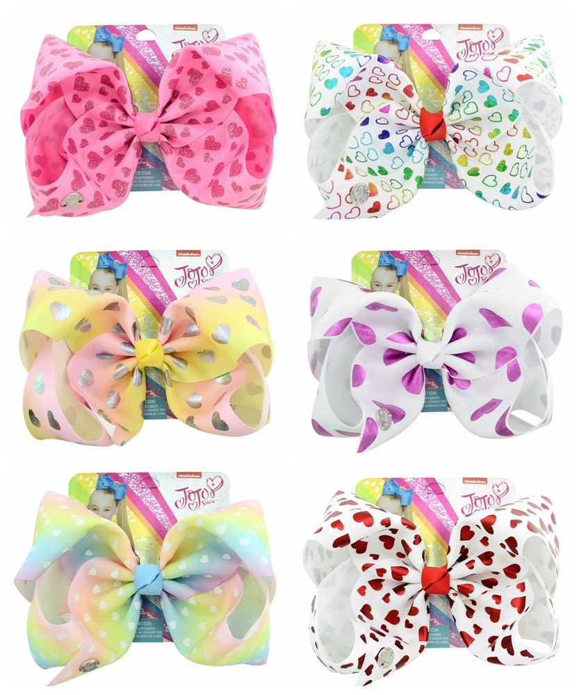 1Pcs 8 Inch Baby Hair Accessories Girls Bows 6 Colors Siwa Heart Unicorn Horn Print Clip Polyester Head Wear Bowknot For Kids