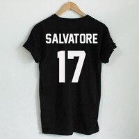 Casual Salvatore 17 T Shirt Year Of Birth Vampire Diaries Mystic Falls Tops Graphic Tee Shirts