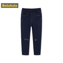 Balabala Todder Boy Fleece-Lined Pull-on Jeans with Applique at Knee Children Kids Denim Pants with Side Pocket Ribbing at Waist(China)