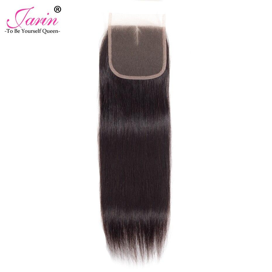 Jarin волос бразильский закрытие прямые волосы кружева Бесплатная/средний/третья часть человеческих волос 4x4 дюйма swiss 130% плотности кружевной... ...