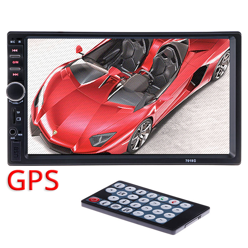 купить  2din Car Radio Video Multimedia Player+GPS Navigation+Camera Map 7'' HD Bluetooth dvd automotivo para carro MP4 MP5 Audio Stereo  по цене 4578.11 рублей