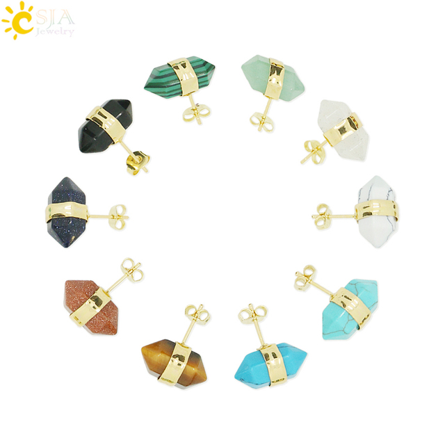 CSJA Fashion Earrings 2015 Piercing Studs Earings Fashion Jewelry Gold Color Natural Stone Clear Crystal Earring for Women E011
