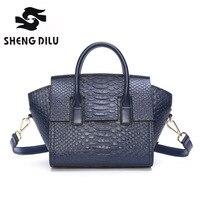 Crocodile Grain Handbag Shengdilu Brand New 2017 Women Genuine Leather Trapeze Bag Shoulder Messenger Bag Free