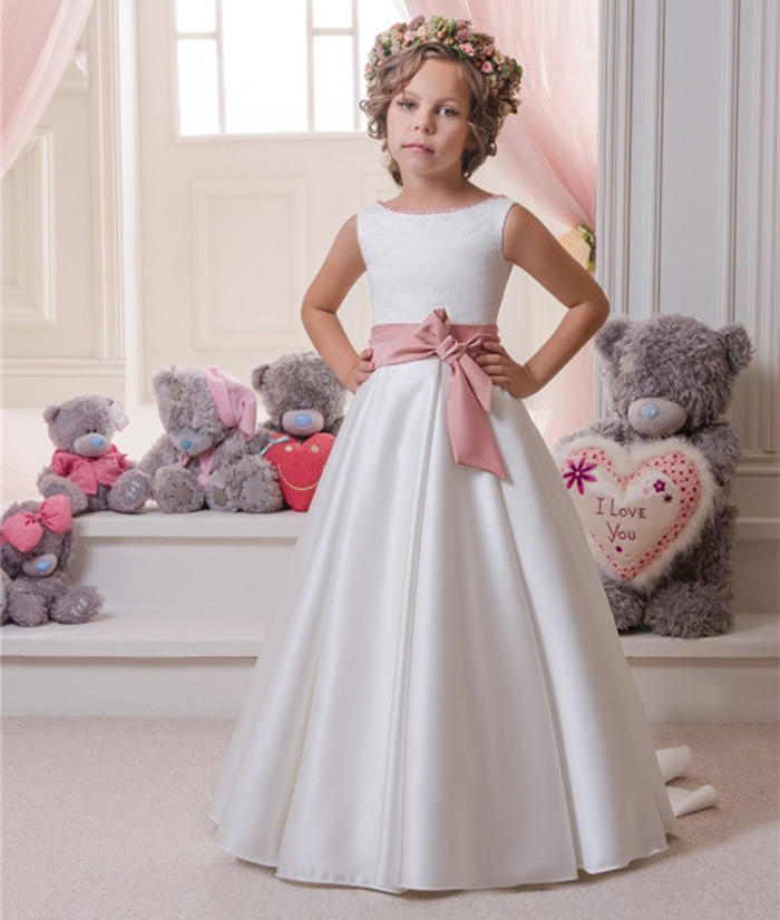 White Long First Communion Dresses A-line O-Neck Flower Girl Dresses with Bow Sash Vestidos De Comunion Para Ninas hot flower girl dress white a line bow sash sleeveless solid o neck girls first communion dress hot sale vestido de comunion