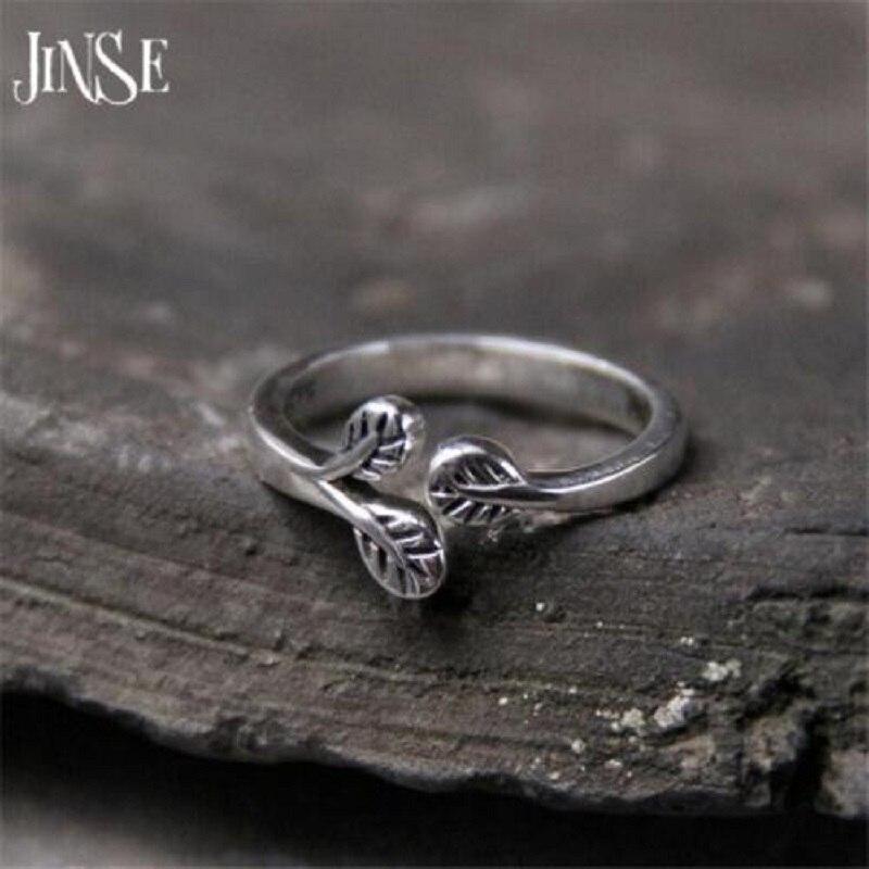 JINSE 925 sterling silver tree leaves Thai ring ladies original jewelry 8.30 mm
