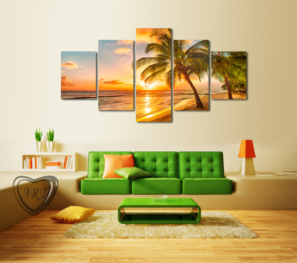 5 Piece Sunset Seascape Inclued Coco Beach Modern H Wall Art HD Picture Canvas Print Painting Living Room Decor Unframed - Whisper of painting store