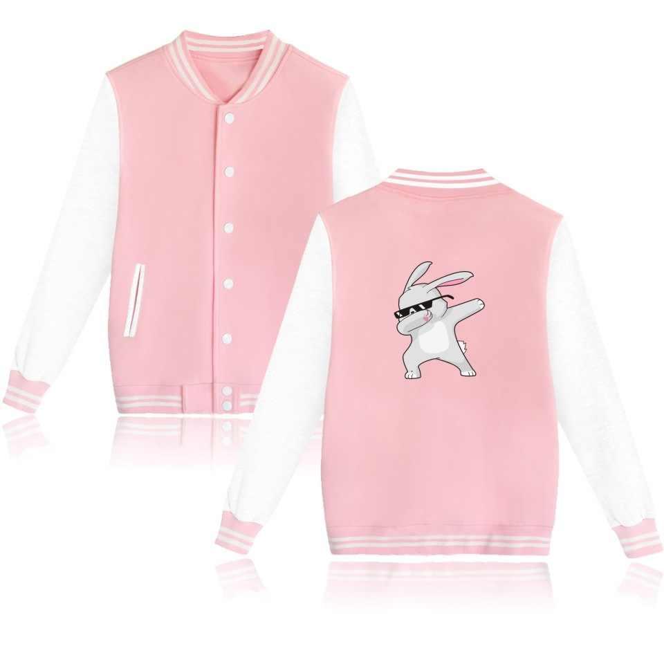 WEJNXIN الحيوان مضحك الكلب زي بيسبول النساء الرجال الشارع الشهير الأزياء المتضخم هوديس الوردي جاكيت من الصوف Moleton Masculino