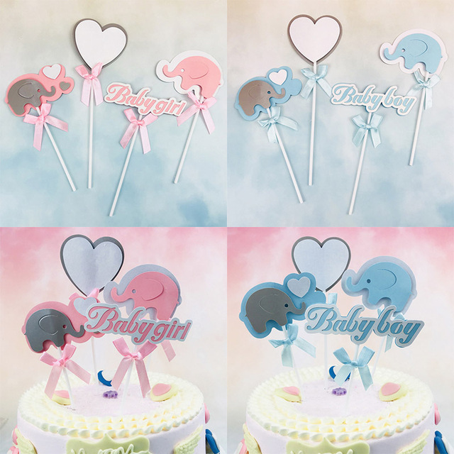Baby Boy/Girl Elephant Cake Toppers