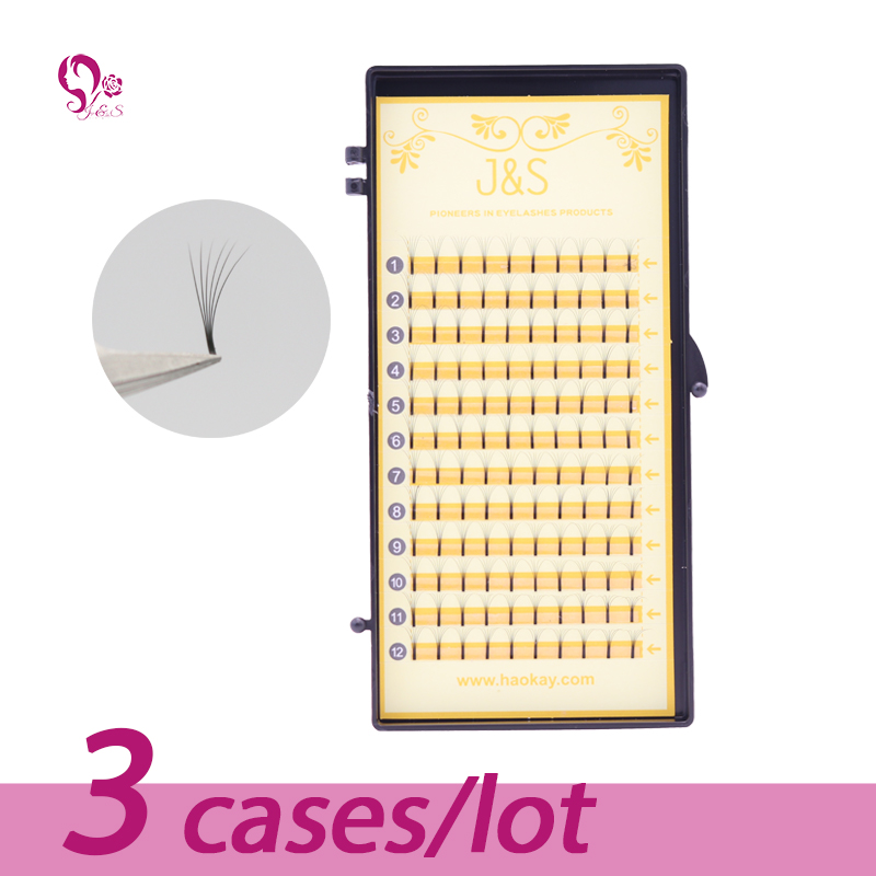 3trays / lot Nya Soft Eyelash Extension Deluxe Lashes 6D 0.07mm Flask - Smink