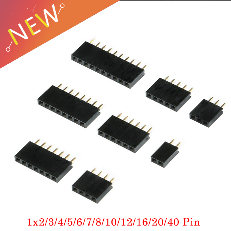 10Pcs 2.54mm Stright Female Single Row Pin Header Strip PCB Connector 1*2/3/4/5/6/7/8/10/12/16/20/40 Pin