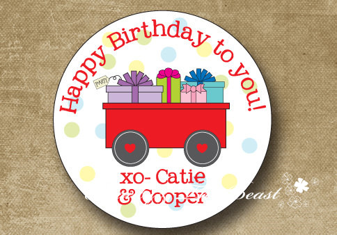 Personalized Red Wagon Birthday Sticker Treat Bag Label Party Favor Decorations Kids Baby Shower