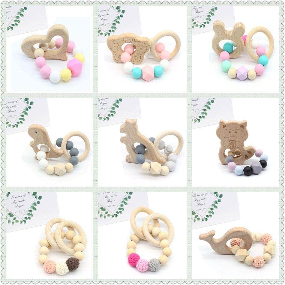 Pacifier Baby Bracelets Wooden Teethers Chew Silicone Beads Teething Wood Rattles Toy Montessori Rattle Stroller Accessories Toy