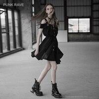 PUNK RAVE New Women's Black Off shoulders Eyelet straps Press studs Front Closure Dress Suspenders Shirt style Chiffon Ladies