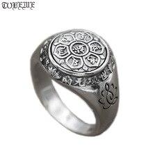 עבודת יד 925 כסף טיבטי OM מאני פאדמה Hum טבעת הבודהיסטי OM מנטרה טבעת לוטוס מגולף מזל טוב טבעת טיבטי שש מילות פתגם