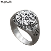 Handmade 925 Silver Tibetan OM Mani Padme Hum Ring Buddhist OM Mantra Ring Lotus carved Good Luck Ring Tibetan Six Words Proverb