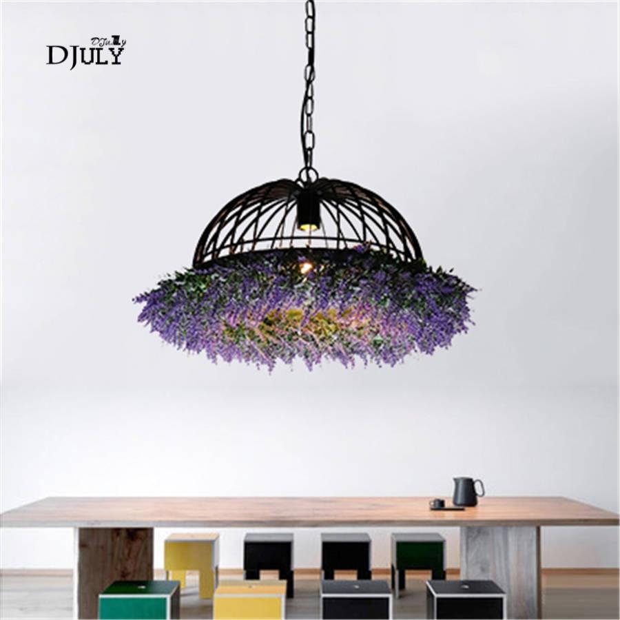 Art déco Artificielle plantes chapeau forme fer lampes suspendues pour salle à manger bar café loft decor coup lampe industrielle lumière appareils
