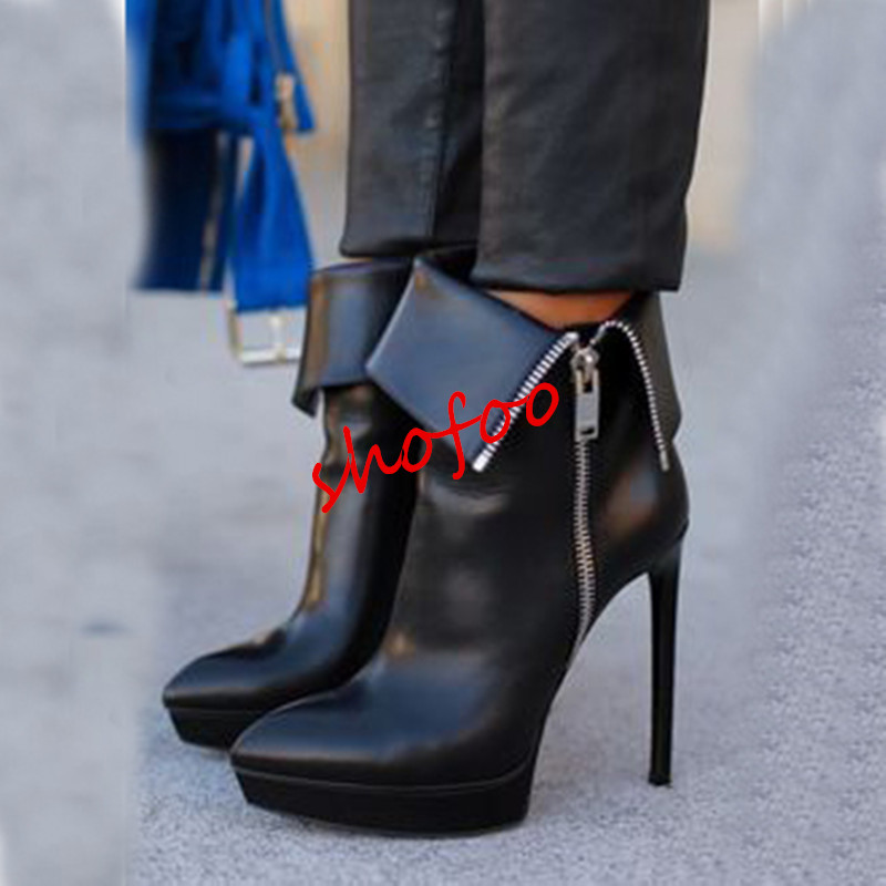 Beautiful and stylish free shipping, black PU, 2.5 cm waterproof, 12.5 cm high heel boots, mid-calf boots.SIZE:34-45 beautiful darkness