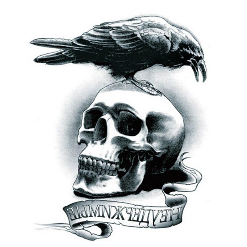 1Pcs Bird Waterproof Tatoo Sleeve And Black Skull 3D Temporary Fake Tattoo Stickers Tattoos On The Arm Man Body Art 2016 New