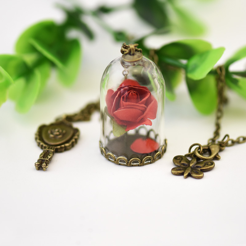 2017 Fashion Hot Glass Vial Necklace Little Prince Rose Necklace Retro Crystal Natural Dried Flowers Necklace Christmas Gifts