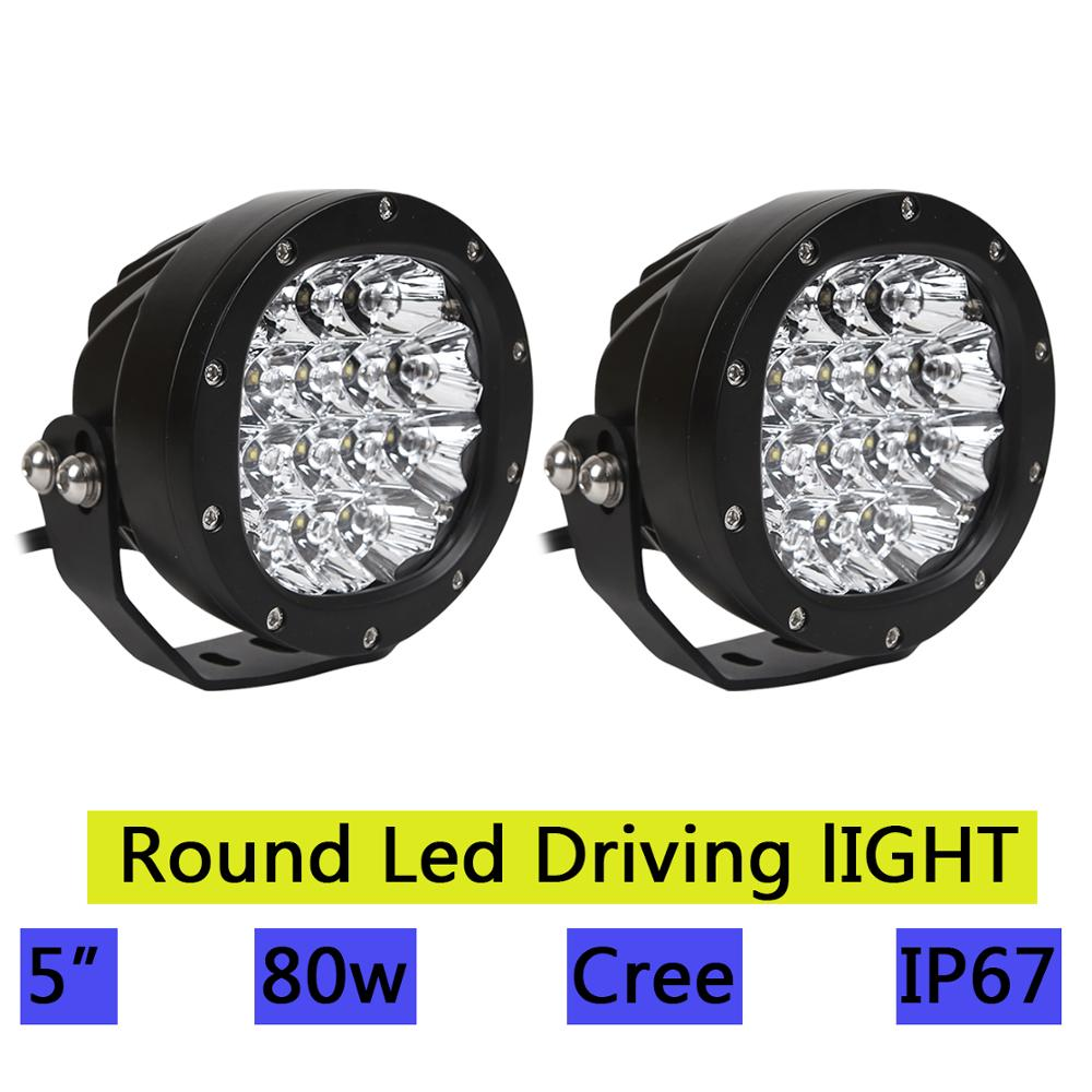 2pcs 5 Inch Round Led Driving Light 80W Front Bumper Grille Guards Spotlights for Offroad Wrangler JK TJ YJ Pickup 4WD 4X4 Truck