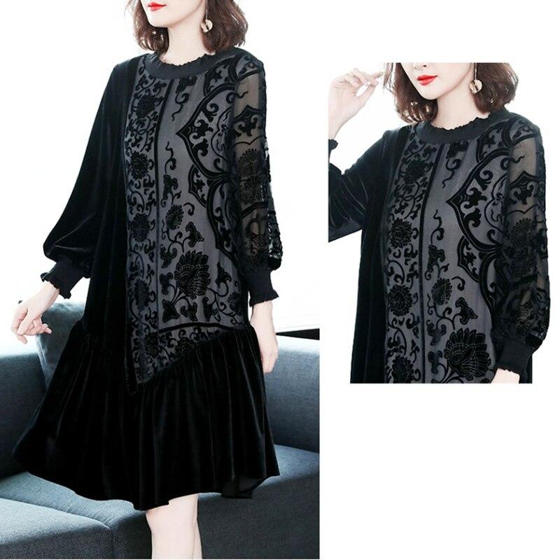 Luxe Robe Partie cou Haute O De Femmes Velours Jacquard Lâche Vintage Élégant Vestidosdz326 Noir Lanterne Qualité Manches ymY7gIbv6f