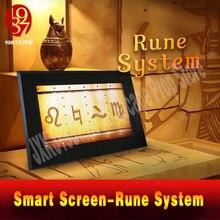 Aventureiro escapar quarto jogo prop runa sistema símbolo alpabets prop ajustar à direita rune partten para desbloquear tela inteligente quebra cabeça