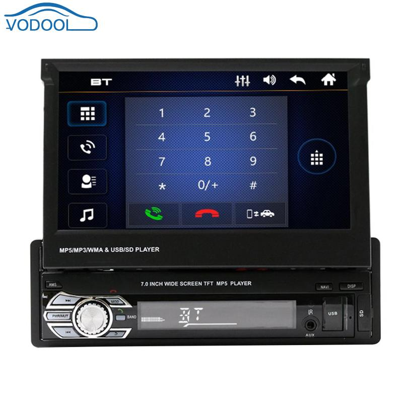 VODOOL 7in Touch Screen Bluetooth Car Stereo MP5 Player Vehicle GPS FM/AM Radio with Map Card+ Camera For Android phones