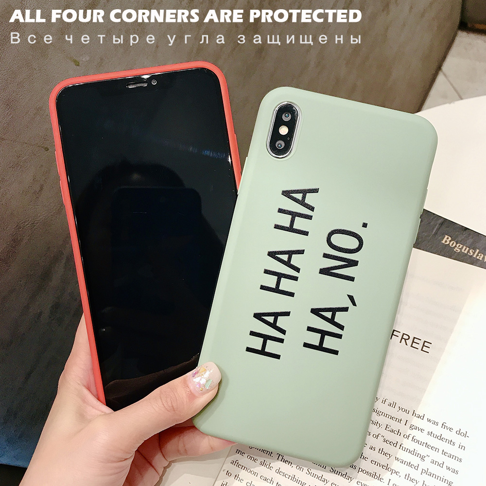 KIPX1082_2_JONSNOW Matte Phone Case for iPhone 6S 6P 7 8 Plus HA HA HA HA NO Pattern Soft Silicone Cases for iPhone X XR XS Max