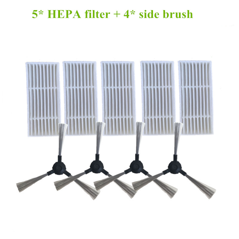 5* HEPA filter + 4* Robot Side brush for redmond rv-r300 rv r300 robotic Vacuum Cleaner Parts Accessories 1 piece robot brush motor belt for neato botvac series 70e 75 80 85 robotic vacuum cleaner brush drive parts