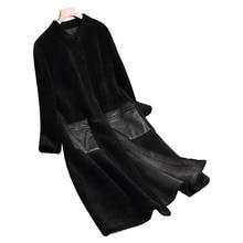 Зимняя куртка женская одежда 2018 натуральный мех пальто шерстяная куртка короткая овечья шерсть меха в Корейском стиле Элегантные замшевые подкладка тонкий длинное пальто ZT591