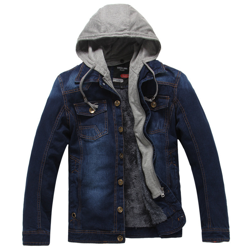Image 2 - Winter Thick Fleece Denim Jacket Men Jeans Coat Cargo Jackets Streetwear Casual Vintage Biker Coat for Men Blue S117-in Jackets from Men's Clothing