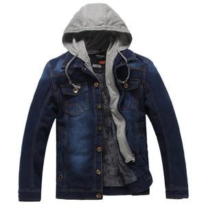 Image 2 - Winter Thick Fleece Denim Jacket Men Jeans Coat Cargo Jackets Streetwear Casual Vintage Biker Coat for Men Blue S117