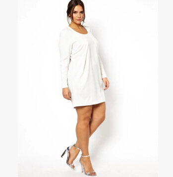 White Plus Size Dresses with Sleeves