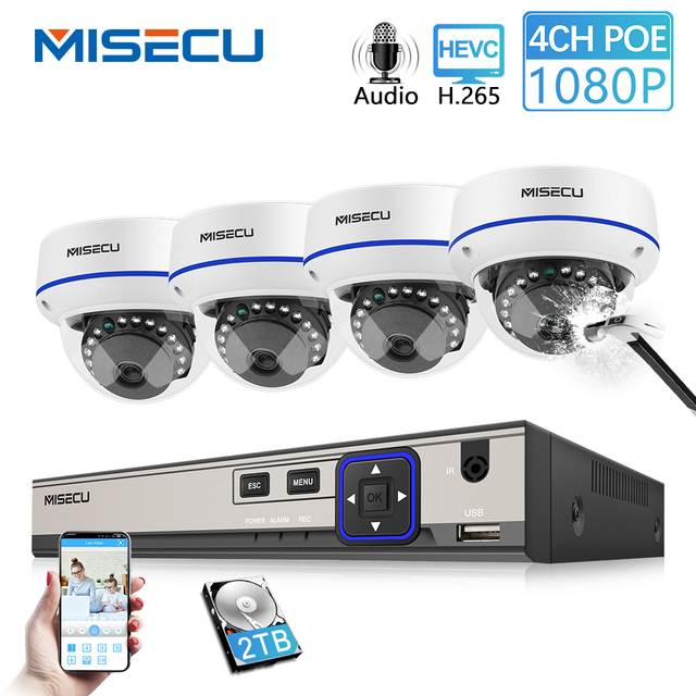 MISECU 4CH 1080P CCTV System Audio Record 2MP PoE IP Camera Vandalproof Outdoor Indoor Night Vision Video Surveillance system