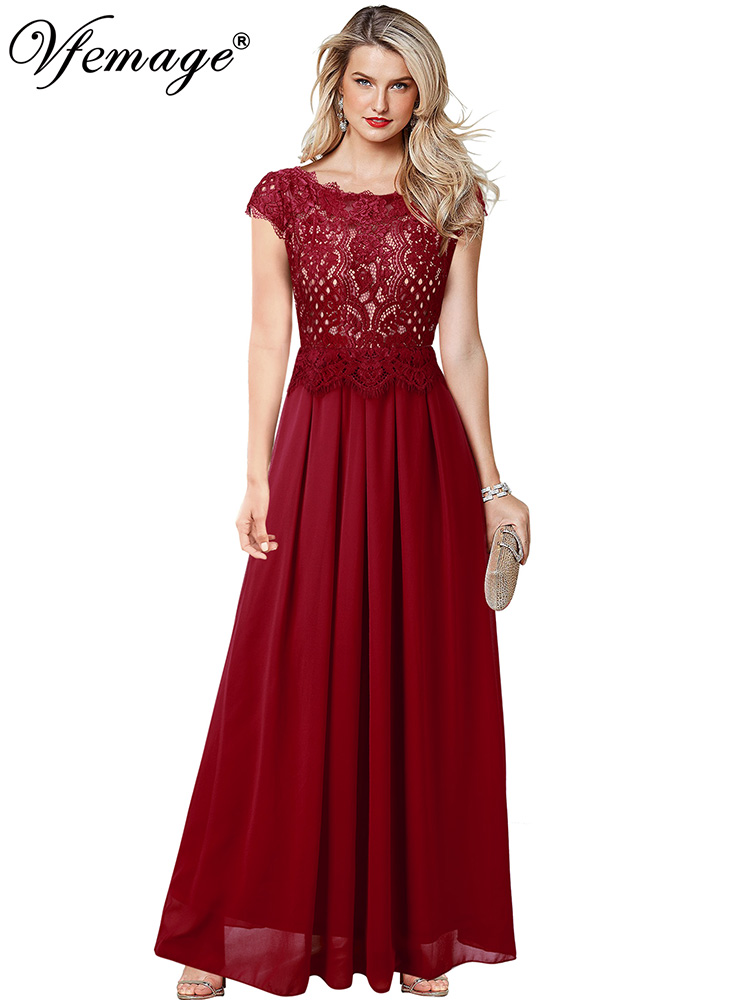 Vfemage Womens Elegant Lace Chiffon Cap Sleeve Pleated Formal Evening Wedding Party Special Occasion Prom A