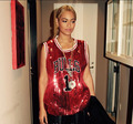 2015 New Beyonce Sleeveless   T Shirts Ladies Sparkling Bling  Sequined Tops Camisetas