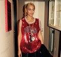 2015 Nueva Beyonce Sin Mangas T-shirt Ladies Sparkling Bling Lentejuelas Tops Camisetas