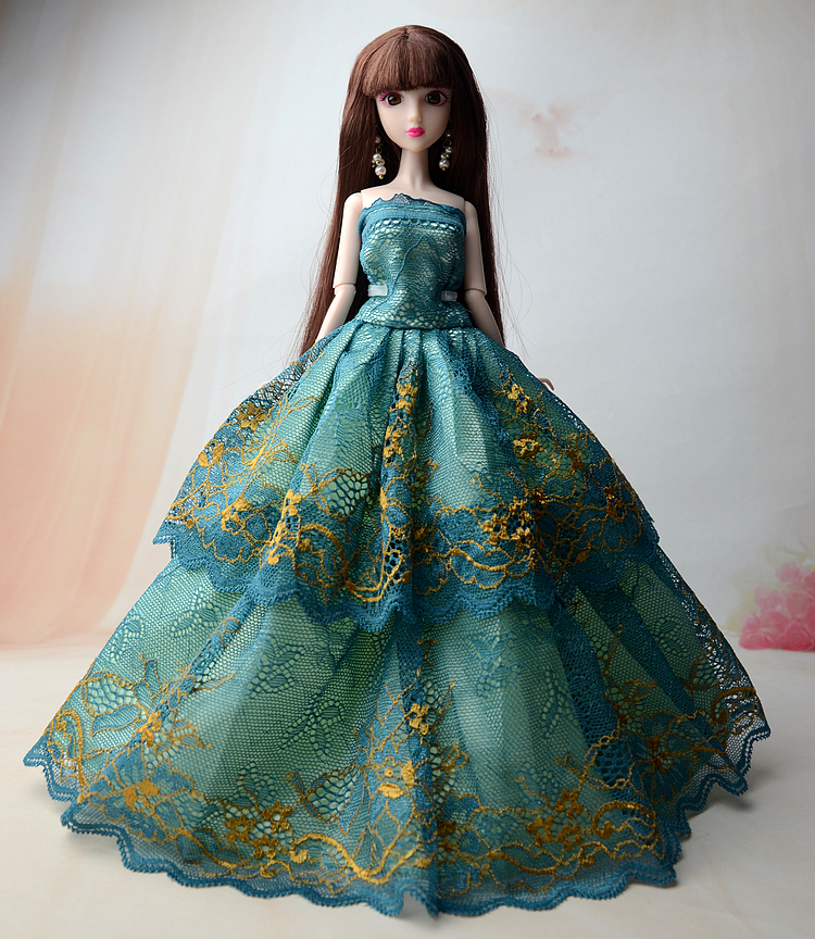 Blue & Yellow Lace Flower Wedding Dress Evening Gown Clothes Outfit Accessories For Xinyi Kurhn Barbie Doll Toys for Children gown