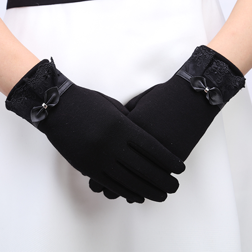 Women Female Gloves Cotton Touch Screen Gloves Solid Inverted Poly Spun Velour Worm Wrist Gloves For Women
