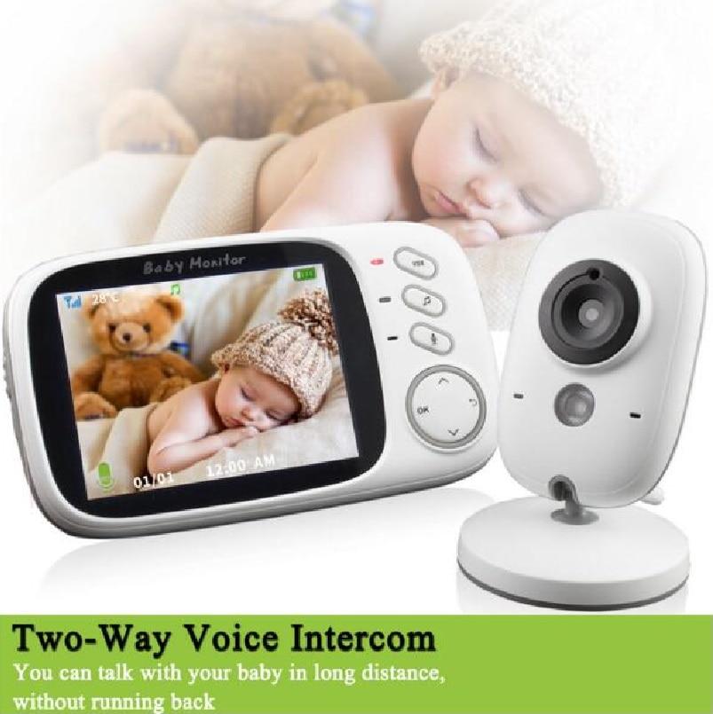 Radio babysitter video nanny IR Nightvision Intercom 8 lullabies Temperature monitor 3.2inch radio babysitter nanny dopler fetal