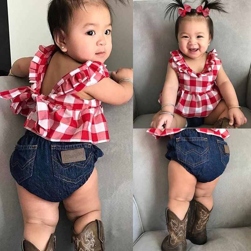 4d39636920cd Infant Kids Baby Girls Outfit Sleeveless Tops Jeans Shorts Headband Kids  Outfits Children Toddler Girl Cute Summer Clothing Set-in Clothing Sets from  Mother ...