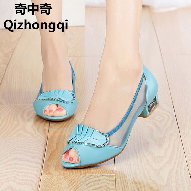 2017new women genuine leather sandals spring and summer shallow mouth low-heeled fish mouth crystal with Cowhide women net shoes 2016 summer new leather tendon at the bottom side of the empty fish head crude rainbow low heeled shoes women xtf039