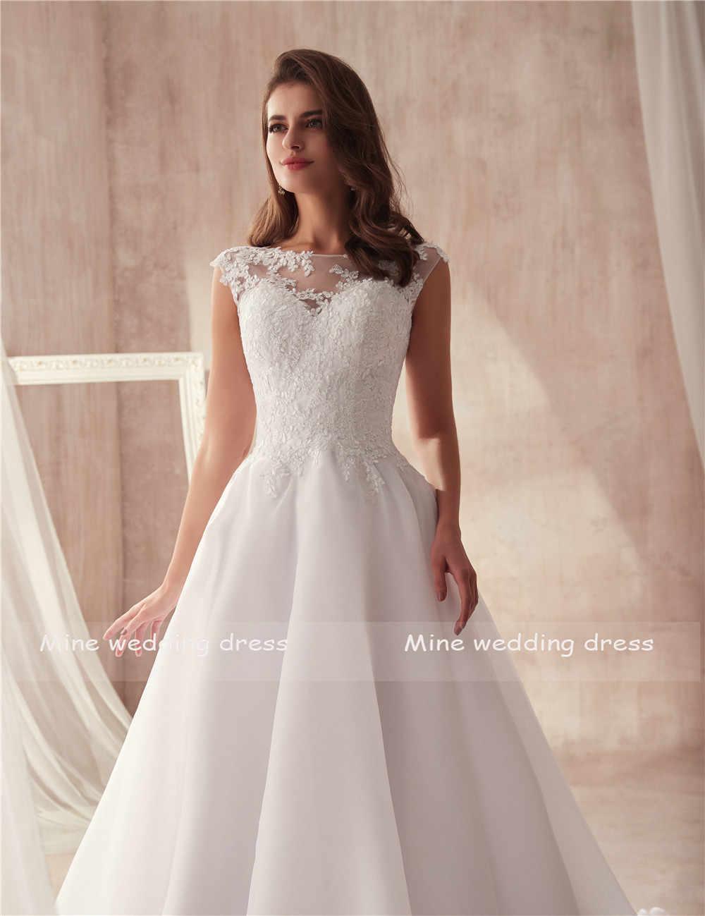 סקופ שרוולים אונליין אורגנזה חתונת שמלה פשוט סגנון vestido לונגו מותאם אישית שנעשה כלה שמלת ממפעל ישירות