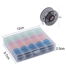 25Pcs/Set Bobbins Box Set Sewing Machine Spools Colorful Plastic Metal And Case Storage Box Sewing Equipment Tools Accessories(China)