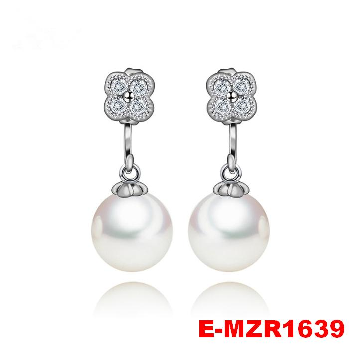 Fashion Jewelry CZ Micro Paved Flower With S925 Silver Pin White Created Pearl Earrings For Women Acessories