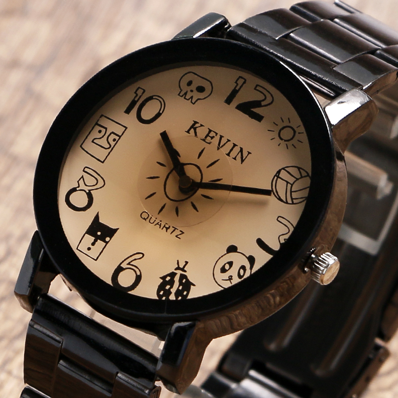KEVIN Lovely Cartoon Design Number Dial Casual Ladies Quartz Wristwatch Stainless Steel Band Modern Hot Sale Women Watches Gift kevin luxury fashion ladies dress quartz wristwatch gear dial stainless steel bracelet elegant women watches gift reloj femenino