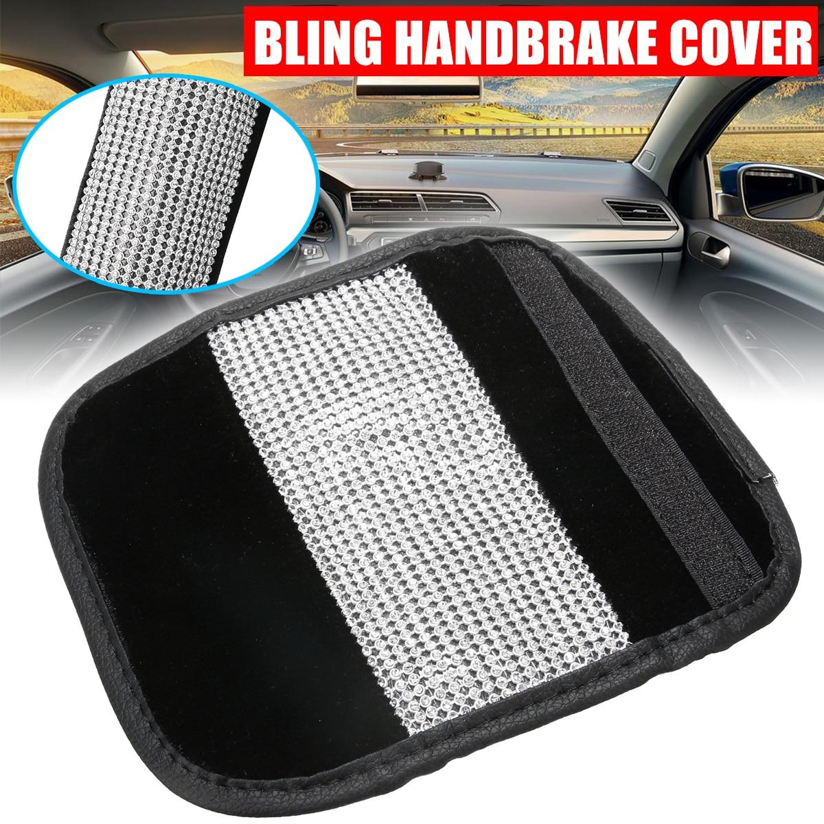 Mayitr 1pc Bling Rhinestone Crystal PU Leather Car Handbrake Hand Brake Decor Cover Auto DIY