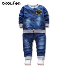 цены на okoufen 2018 new baby boy and girl clothes spring autumn children clothing denim body suit kids jeans clothes set retail  в интернет-магазинах