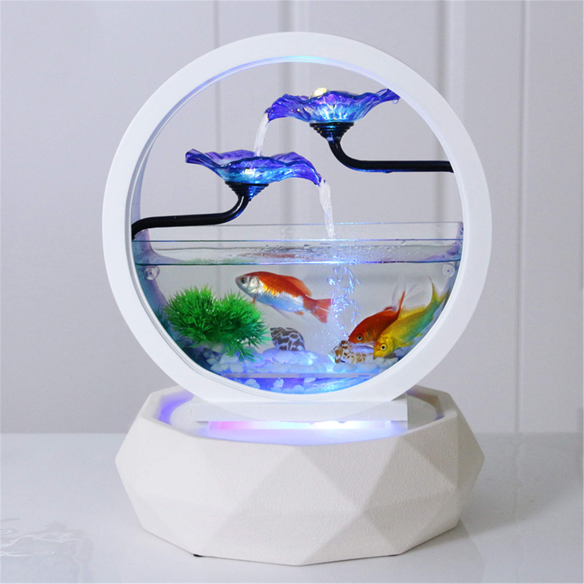 Desktop Water Fountain Small Fish Tank Creativity Table Top Round White Glass Aquarium Office Indoor Decoration Waterfall Kit